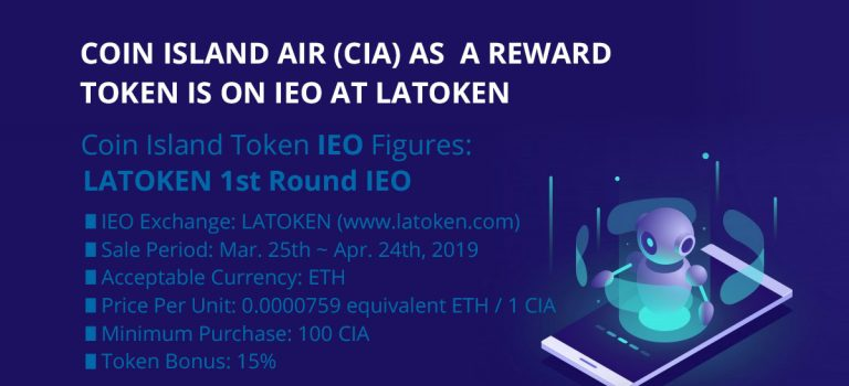 Coin Island Air (CIA) as  a Reward  Token is on IEO at LATOKEN